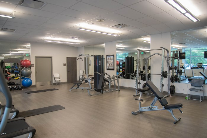 An indoor gym at Wilmington Treatment Center