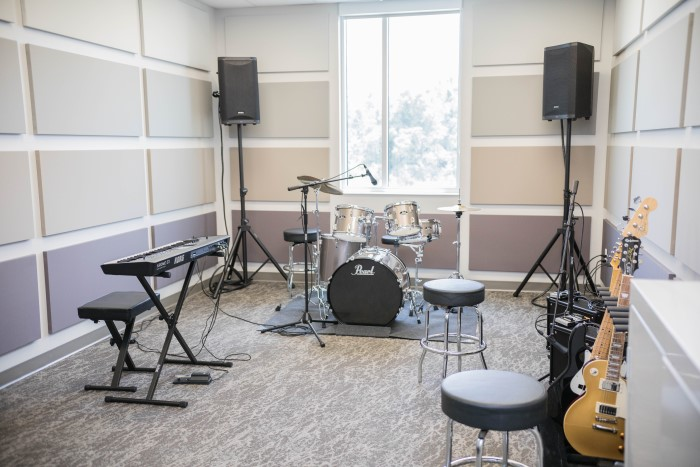 Instruments in the music recording room at Wilmington Treatment Center