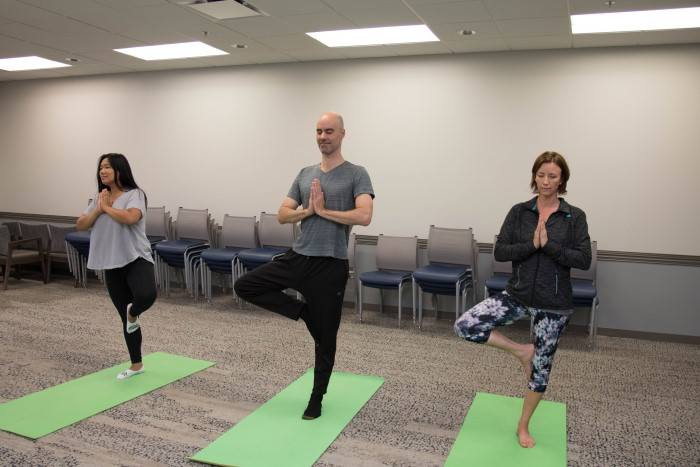Clients at Wilmington Treatment Center taking part in a yoga session